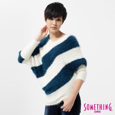 SOMETHING-針織衫-V領斜線長版線衫-女-土耳其藍