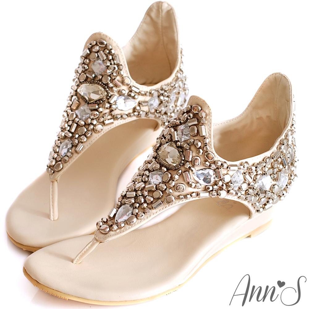 Ann'S奢華注目-璀璨寶石名媛夾腳涼鞋-米白