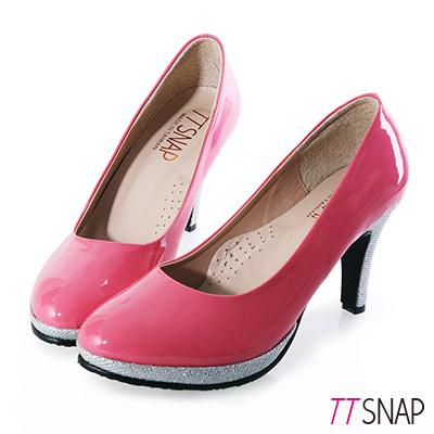 TTSNAP高跟鞋-MIT全真皮防水台小圓頭軟Q華麗跟鞋-粉