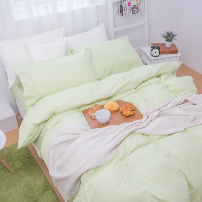 鴻宇HongYew 100%精梳棉 簡約純色-蘋果綠 單人薄被套