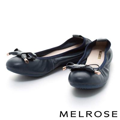 MELROSE-優雅金釦蝴蝶結牛皮厚底娃娃鞋-藍
