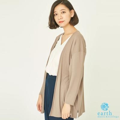 earth music  SET ITEM V領七分袖上衣+落肩側開衩罩衫外套