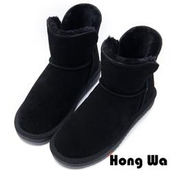 2.Maa - 日系風格牛麂皮素面雪靴 - 黑