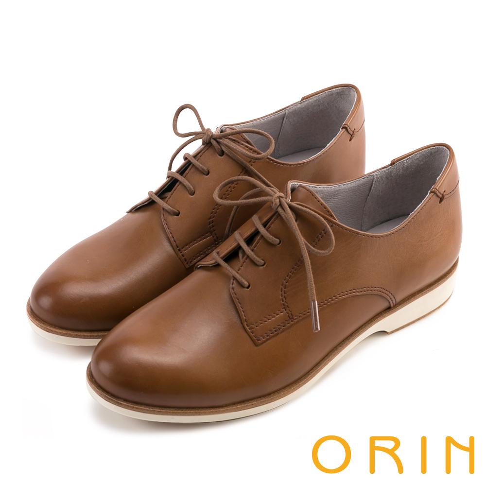 ORIN 個性簡約 質感牛皮素面綁帶復古平底鞋-棕色