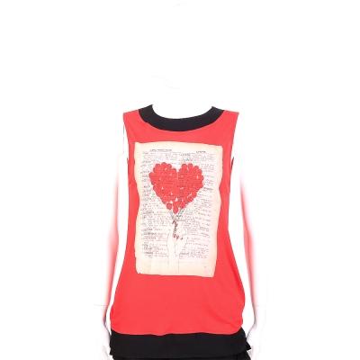 LOVE MOSCHINO 紅x黑心型白皮書無袖上衣