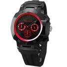 BAKLY 極速系列三環計時運動腕錶-黑x紅/黑錶帶/47mm