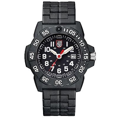 LUMINOX NAVY SEAL 3500海豹2代碳纖維鏈帶腕錶-黑x白時標45MM