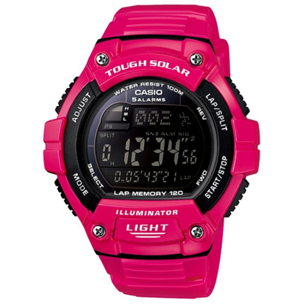 CASIO 陽光遊俠全方位電子運動錶(W-S220C-4B)-黑面/桃紅色/49mm