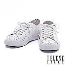 休閒鞋 HELENE SPARK 質感浪漫雪花沖孔全真皮厚底休閒鞋-白
