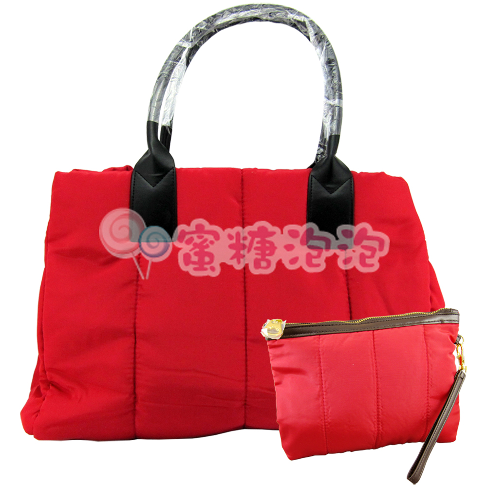 CLARINS 克蘭詩 法式紅蕾輕羽絨肩背包 法式紅蕾輕羽絨手拿包