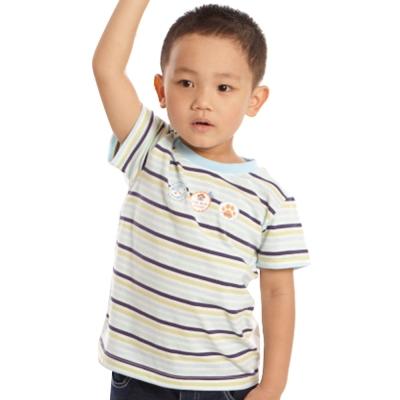 愛的世界 MYBABY 純棉圓領圖標橫紋短袖T恤/2~4歲