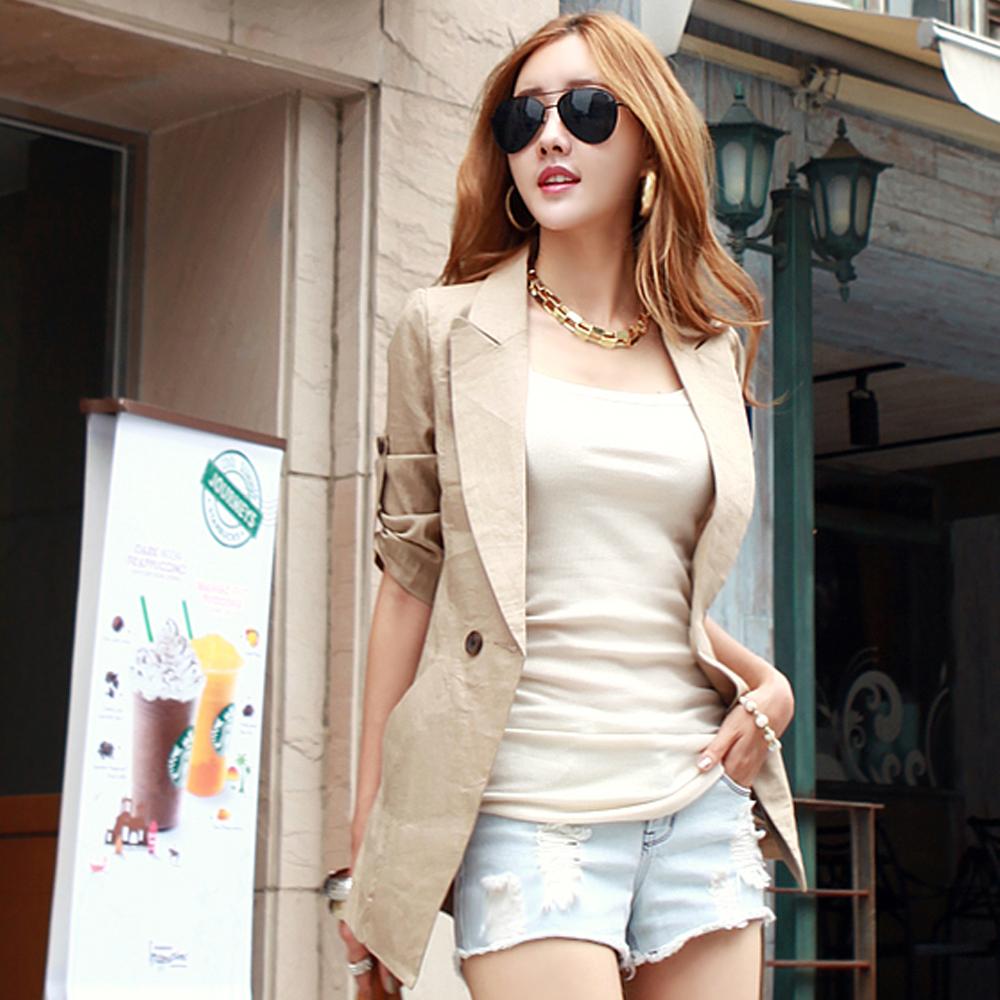 【N.C21】反摺袖釦輕盈麻料西裝外套 (共五色)