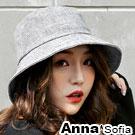 AnnaSofia 氣質透感續線 棉麻遮陽防曬漁夫帽盆帽(灰系)