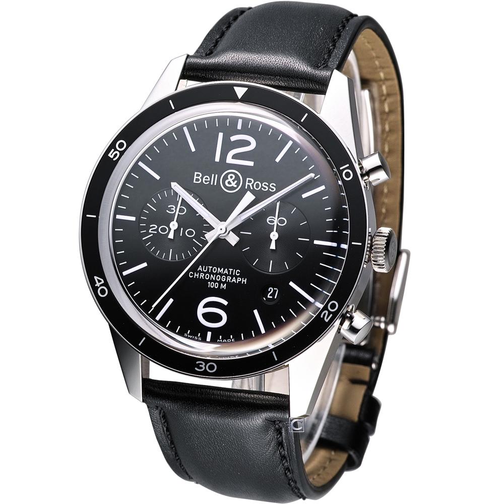 Bell & Ross Vintage BR126 復刻版計時機械錶-黑/41mm