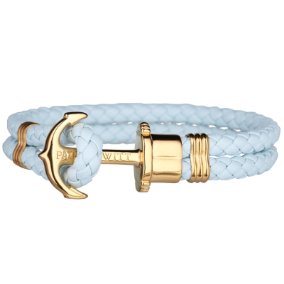 PAUL HEWITT 德國出品 PHREP 天空藍皮革金色船錨手環手鍊
