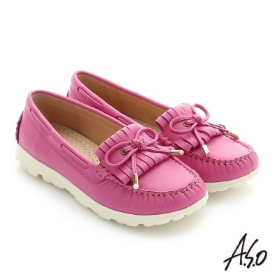 A.S.O 輕量抗震 真皮蝴蝶結奈米窩心健走平底鞋 桃粉紅色