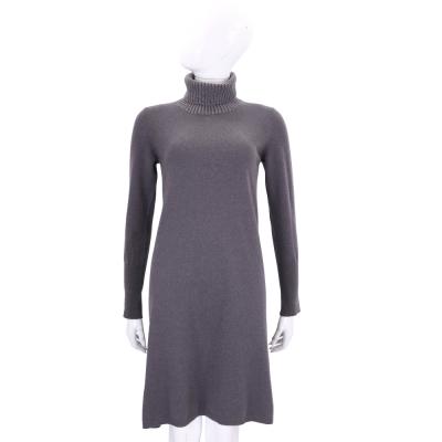 FABIANA FILIPPI 深灰色高領羊毛洋裝(75%MERINO WOOL)