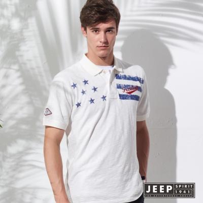 JEEP 美國旗印花短袖POLO衫 (白色)