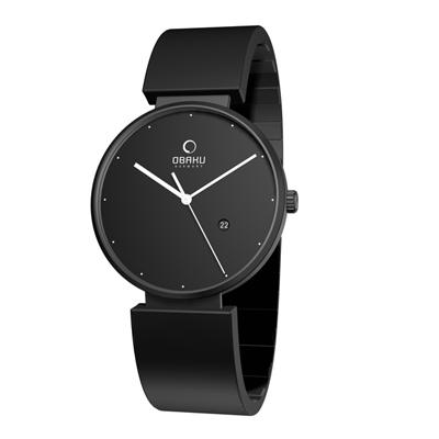 OBAKU簡躍城市時尚腕錶(黑/40mm)