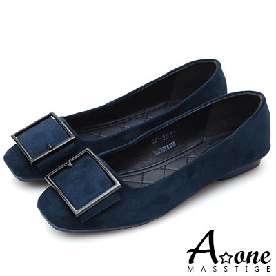 A one 麂絨皮帶釦方頭娃娃鞋-藍色
