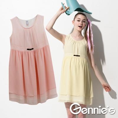 【Gennie's奇妮】輕甜少女雪紡春夏孕婦洋裝(G1511)-粉