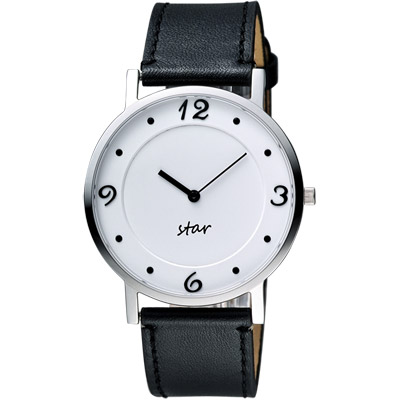 STAR 藝術時尚簡約風情腕錶-白x黑/39mm