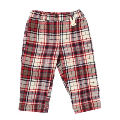 愛的世界 pappa&ciccia 純棉法蘭絨格子長褲 2~4歲