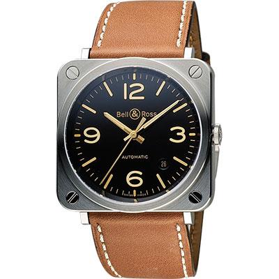 Bell & Ross Aviation 軍事飛行機械錶-黑x金時標/39mm