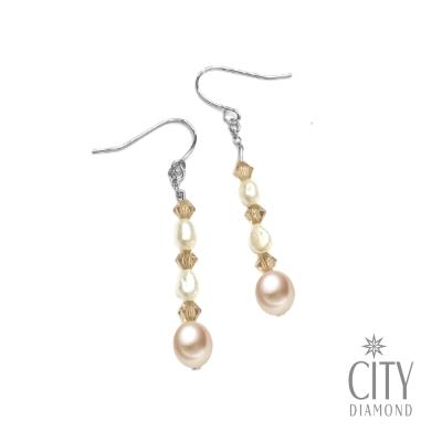 City Diamond引雅  手作設計系列   天然珍珠水晶耳環
