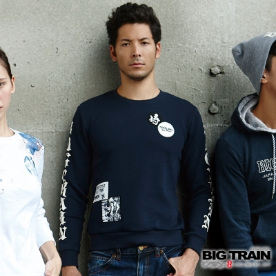 BIG TRAIN 黑白像版潮流厚T-男-深藍