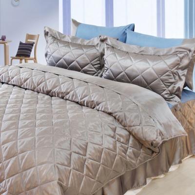 LAMINA 雙色亮面精梳棉六件式床罩組-灰藍(雙人)