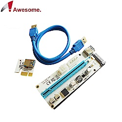 Awesome 採礦機專用PCIe x1轉PCIe x16 USB3.0介面轉接卡