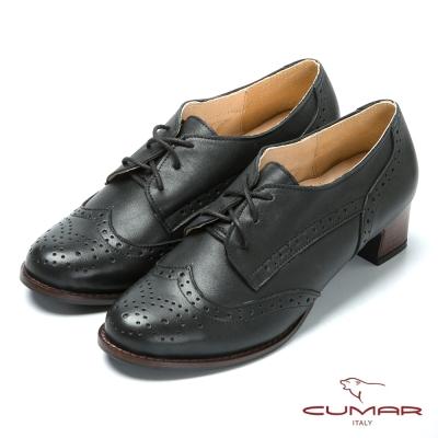 CUMAR英倫學院 真皮綁帶牛津鞋-黑