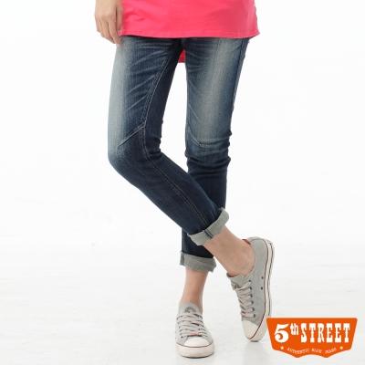 5th STREET 3D褲 刷色伸縮九分牛仔褲-女-酵洗藍