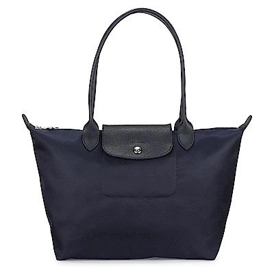 Longchamp 厚尼龍小型長柄水餃包-海軍藍色