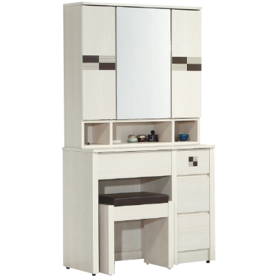 品家居 萍花2.7尺白橡色化妝鏡台含椅-80x42x168cm-免組