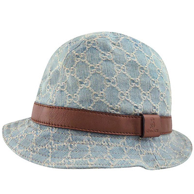 GUCCI 藍色單寧雙G緹花Kid系列漁夫帽
