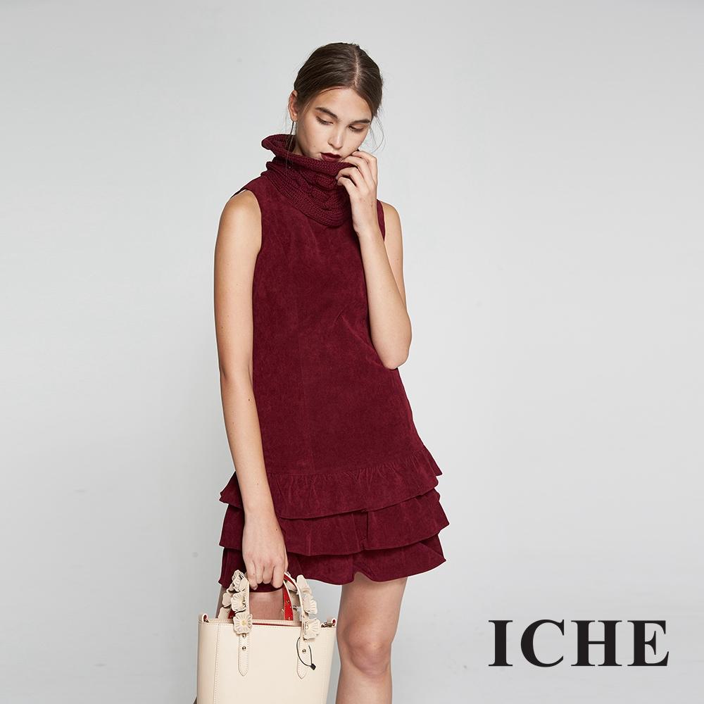 Hana+花木馬 高領針織拼接荷葉蛋糕絨質造型洋裝(兩色)-紅