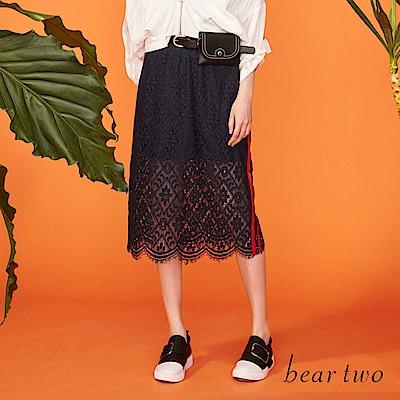 beartwo 彈性睫毛布蕾絲邊條造型長裙(二色)