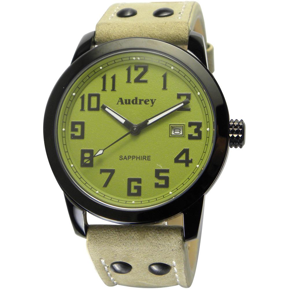 Audrey 歐德利 世界飛行 質感簡約風格腕錶(AUM5655)-軍綠/41mm