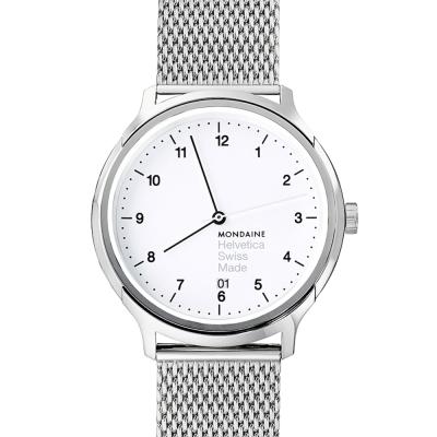 MONDAINE 瑞士國鐵Helvetica 聯名腕錶-白x米蘭錶帶/40mm
