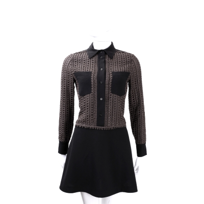 SEE BY CHLOE 黑x咖啡色洞洞拼接襯衫式洋裝