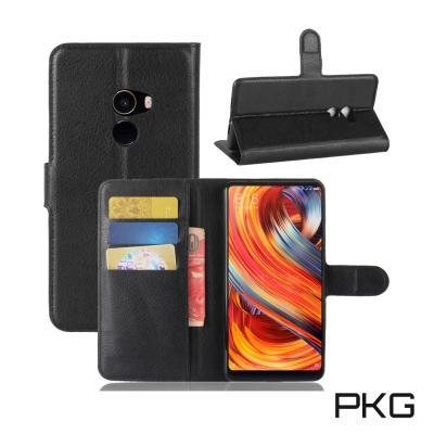 PKG 小米Mix2 側翻式皮套經典皮革系列-黑