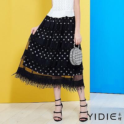 YIDIE衣蝶-韓系圓點流蘇鬆緊網紗八分裙