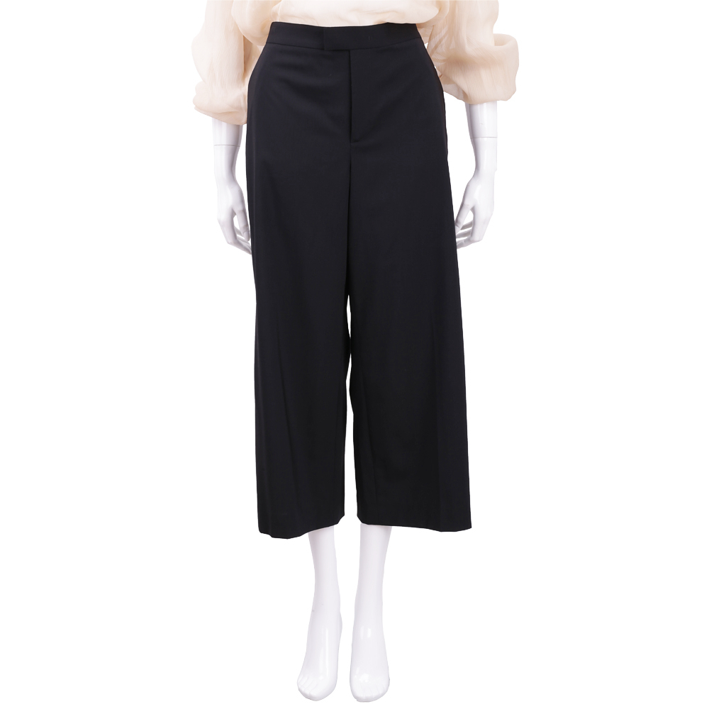 RED VALENTINO 黑色素面羊毛八分寬褲(98%WOOL)