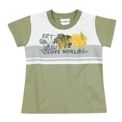 愛的世界 純棉圓領河馬拚接短袖T恤-灰綠/3~4歲