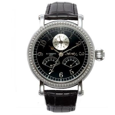 Jebely瑞士機械錶-盧加諾特區系列-雙扇造型飛返式秒針機械錶-黑/黑面/41mm