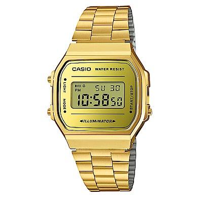 CASIO經典時尚復古造型設計數位錶(A-168WEGM-9)金色/36.3mm