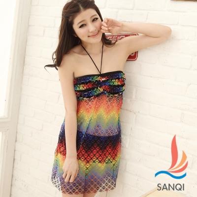 SANQI三奇 花漾摩登 兩件式比基尼泳衣(藍M~XL)