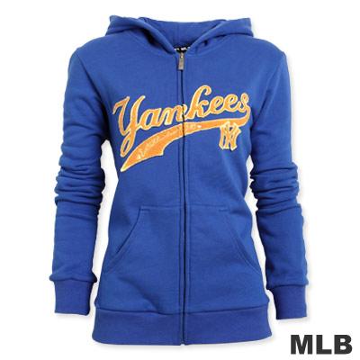 MLB-紐約洋基隊貼布繡厚棉外套-藍(女)